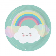 Χάρτινα πιάτα φαγητού Rainbow & Cloud