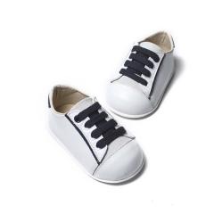 Sneaker δερμάτινο δετό δίχρωμο Babywalker