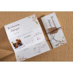 Προσκλητήριο γάμου τρίπτυχο φλοραλ σχέδιο Biniatian