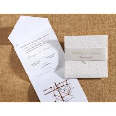 Προσκλητήριο γάμου τρίπτυχο ανάγλυφα σχέδια Biniatian