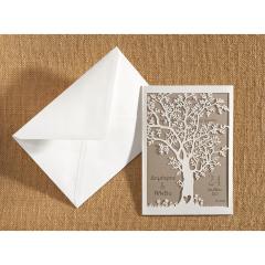 Προσκλητήριο γάμου laser cut Δέντρο Ζωής λευκό Biniatian