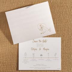 Προσκλητήριο γάμου μοντέρνο Save the Date Biniatian