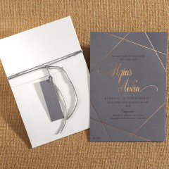 Προσκλητήριο γάμου γεωμετρικά σχέδια γκρι κάρτα Biniatian