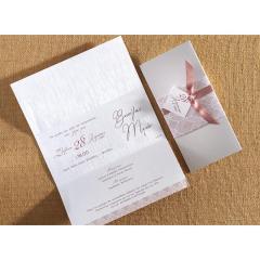 Προσκλητήριο γάμου τρίπτυχο με τρέσα, κορδέλα Biniatian
