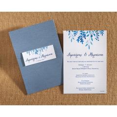 Προσκλητήριο γάμου φλοραλ μπλε αποχρώσεις Biniatian
