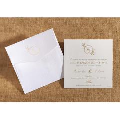 Προσκλητήριο γάμου κλασικό λευκό με χρυσοτυπία Biniatian