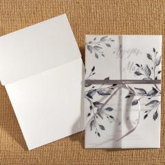 Προσκλητήριο γάμου κλαδιά & φύλλα γκρι Biniatian