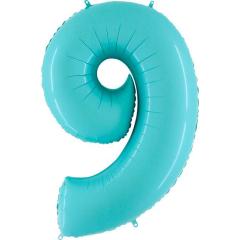 Μπαλόνι Φοιλ Νούμερο 9 παστέλ μπλε 66εκ.