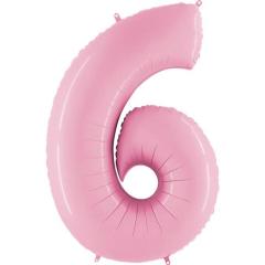 Μπαλόνι Φοιλ Νούμερο 6 παστέλ ροζ 66εκ.
