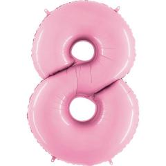 Μπαλόνι Φοιλ Νούμερο 8 παστέλ ροζ 66εκ.