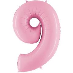 Μπαλόνι Φοιλ Νούμερο 9 παστέλ ροζ 66εκ.