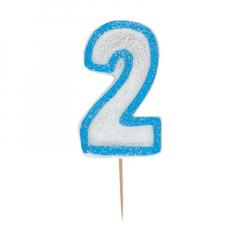 Κεράκι νούμερο 2 με μπλε περίγραμμα