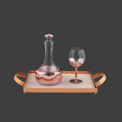 Σετ Γάμου Κουμπάρου Δίσκος ξύλινος roz-gold