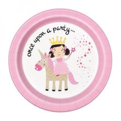Χάρτινα πιάτα φαγητού Pink Princess and Unicorn