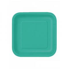 Πιάτο χάρτινο φαγητού σε τυρκουάζ χρώμα 23 εκ