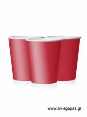 Ποτήρι χάρτινο σε κόκκινο χρώμα 9 εκ