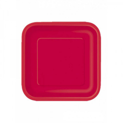 Πιάτο χάρτινο φαγητού σε κόκκινο χρώμα 23 εκ
