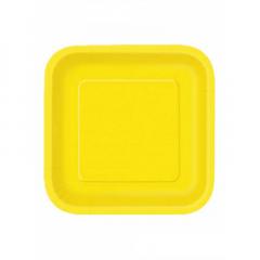 Πιάτο χάρτινο φαγητού σε κίτρινο χρώμα 23 εκ