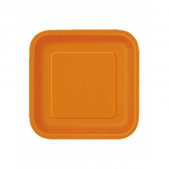 Πιάτο χάρτινο φαγητού σε πορτοκαλί χρώμα 23 εκ