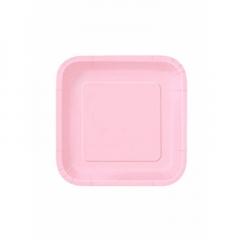 Πιάτο χάρτινο γλυκού σε ροζ χρώμα 17 εκ