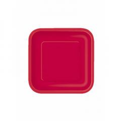 Πιάτο χάρτινο γλυκού σε κόκκινο χρώμα 17 εκ