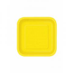 Πιάτο χάρτινο γλυκού σε κίτρινο χρώμα 17 εκ