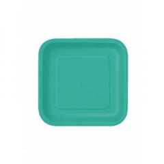 Πιάτο χάρτινο γλυκού σε τυρκουάζ χρώμα 17 εκ