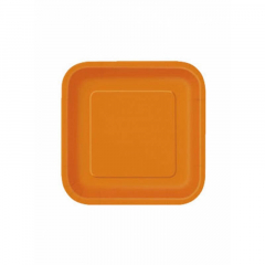 Πιάτο χάρτινο γλυκού σε πορτοκαλί χρώμα 17 εκ