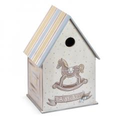 Κουτί βάπτισης ξύλινο σπιτάκι με θέμα καρουζέλ