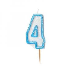 Κεράκι νούμερο 4 με μπλε περίγραμμα