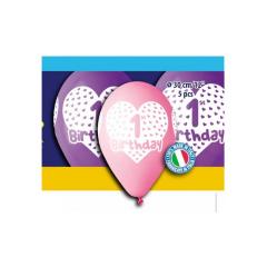 Μπαλόνια πρώτα γενέθλια κοριτσάκι (5τεμ)