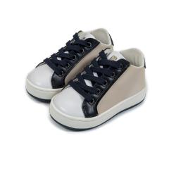 Τρίχρωμα δετά sneakers απο ύφασμα & δέρμα Babywalker