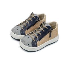 Sneaker απο δέρμα & ύφασμα με πλαϊνό άνοιγμα Babywalker