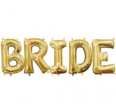 Μπαλόνια φράση Bride χρυσό 5τεμ.