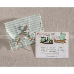 Προσκλητήριο βάπτισης καρτ ποστάλ με βέσπα Biniatian