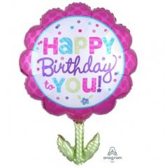 Μπαλόνι φόιλ Happy Birthday λουλούδι 73εκ.