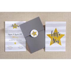 Προσκλητήριο βάπτισης Little Star δύο όψεων Biniatian