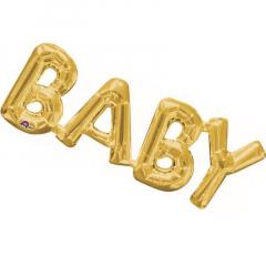 Μπαλόνι λέξη Baby χρυσό 66x22εκ.
