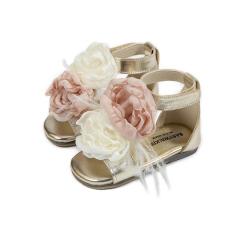 Δερμάτινα πέδιλα με διακοσμητικό χειροποίητο λουλούδι  Babywalker