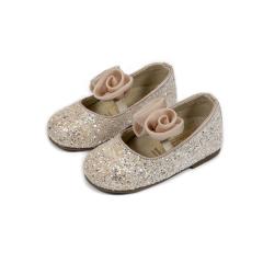 Γοβάκι απο ύφασμα glitter & χειροποίητο chiffon λουλούδι Babywalker