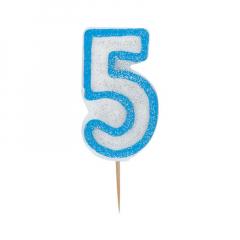 Κεράκι νούμερο 5 με μπλε περίγραμμα