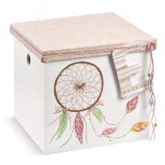 Κουτί βάπτισης ξύλινο ζωγραφισμένο με θέμα ονειροπαγίδα