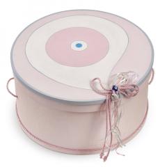 Κουτί βάπτισης ξύλινη καπελιέρα τυχερό μάτι ροζ