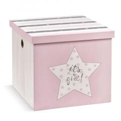 Κουτί βάπτισης ξύλινο με θέμα αστεράκι ροζ