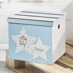 Κουτί βάπτισης ξύλινο με θέμα αστεράκι σιέλ