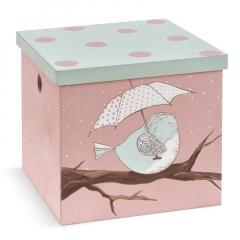 Κουτί βάπτισης ξύλινο με θέμα πουλάκι