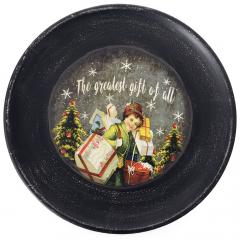 Χριστουγεννιάτικη διακοσμητική ξύλινη πιατέλα με γιορτινή παράσταση