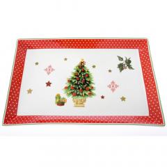 Χριστουγεννιάτικη πιατέλα bone china με δέντρο