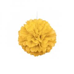 Διακοσμητική μπάλα Puff σε κίτρινο χρώμα