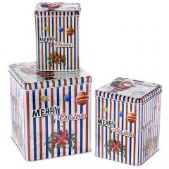 Χριστουγεννιάτικο σετ μεταλλικά ριγέ κουτιά Merry Christmas